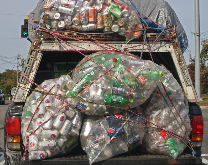9) Cans for recycling. Lots and lots of cans.