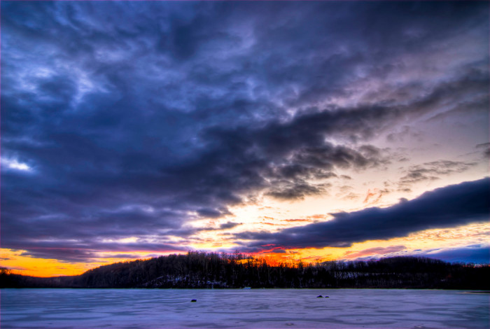 8. A snowy sunset in Hope.