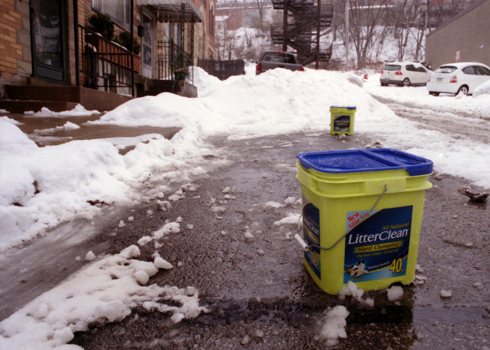 10.  Kitty litter is a great substitute for salt and sand for traction.