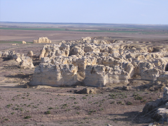 5. Located 11 miles south of I-70 near Quinter, the Cretaceous period Castle Rock has a fragile chalk and shale formation that may not last longer.