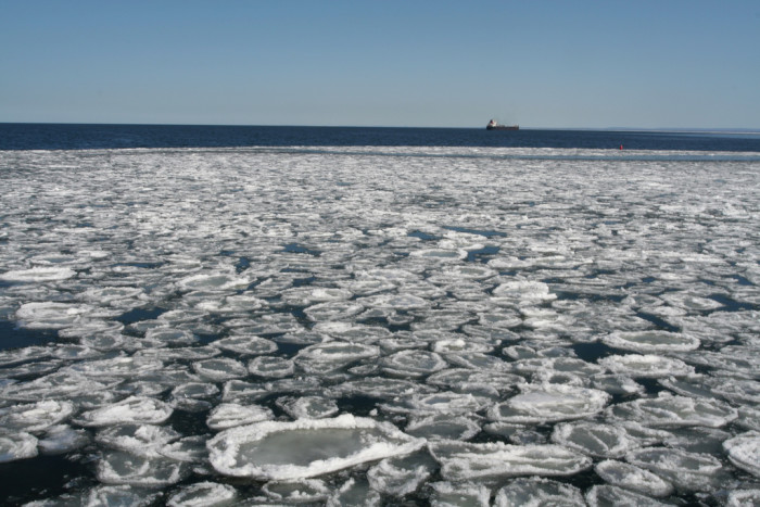"""8. This """"pancake ice"""" on Lake Superior is absolutely beautiful as it floats along the shore."""