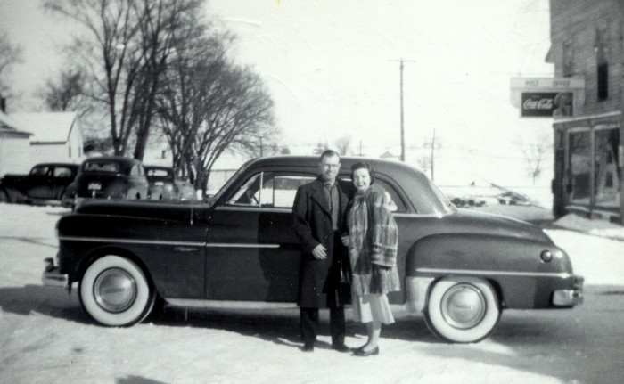 This Happy Couple Poses In Front Of Their Car Sometime The Early 1950s