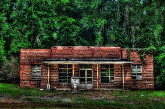 13. This abandoned gas station is located on Hwy 165 between Phenix City and Eufaula.