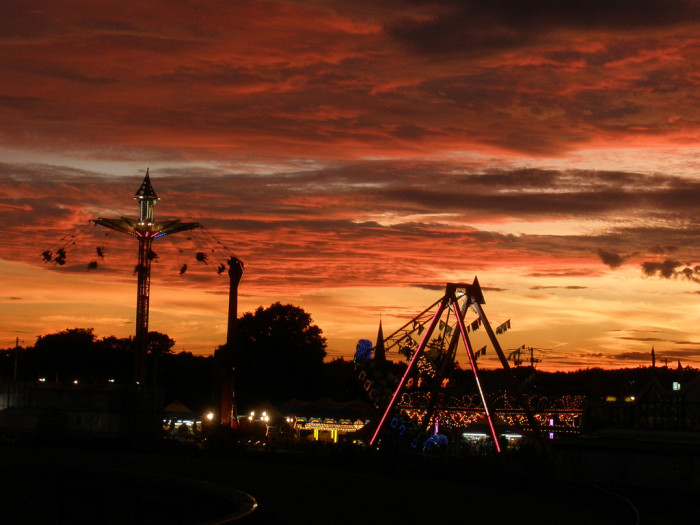 13. The fun is just beginning as the sun goes down over Brockton Fair.