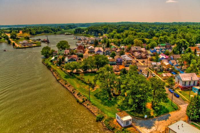 9) Chesapeake City is charming up close and from up above.