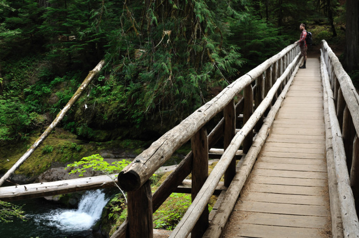 Cross this lovely wooden footbridge to reach the hot springs.