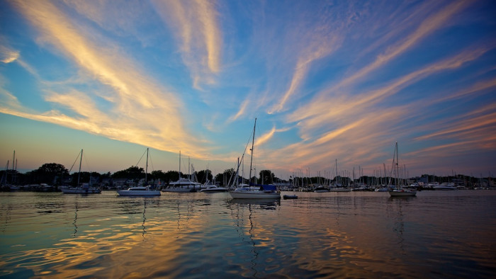 4) A serene setting of boats at our state capital, Annapolis.