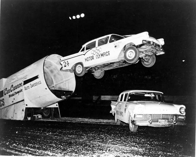 6.	Auto daredevil show at the Missouri State Fair, Sedalia, 1960s.