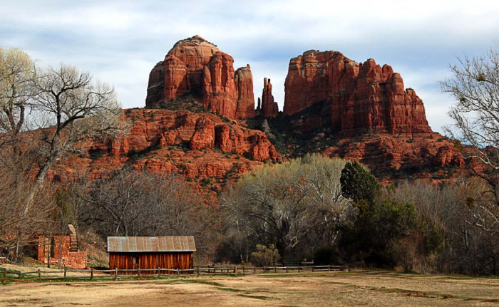 6. Here is a pretty, old barn sitting within view of Cathedral Rock near Sedona. Looks like the perfect spot for a ranch!