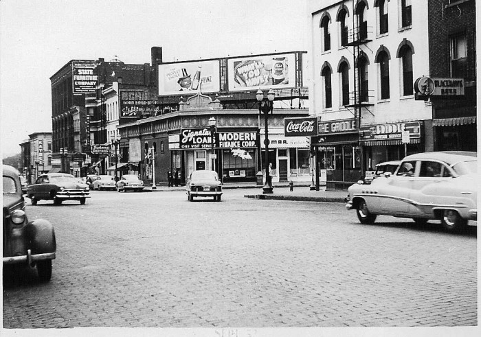 6. The southwest corner of 3rd and Harrison in Davenport is a feast for sign lovers in the 1950s.