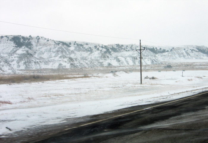 3. The Badlands in a fresh blanket of snow.
