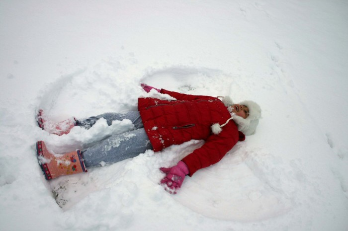 1. We made the most snow angels at the same time in the same place