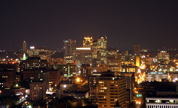 8. An amazing skyline view captured in downtown Birmingham, Alabama during  nighttime hours.