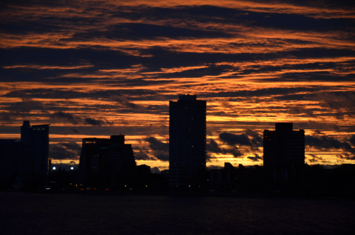 12. Sunset over Boston Massachusetts viewed from Harvard Bridge in the Back Bay.