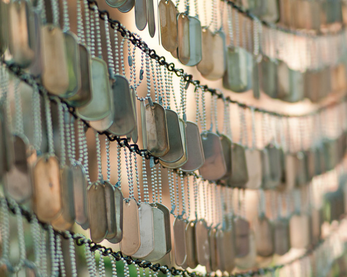 5. The daughters and sons of Massachusetts have been serving their nation for hundreds of years. Pictured: dog tags hanging in the Old North Memorial Garden near the Old North Church in Boston.