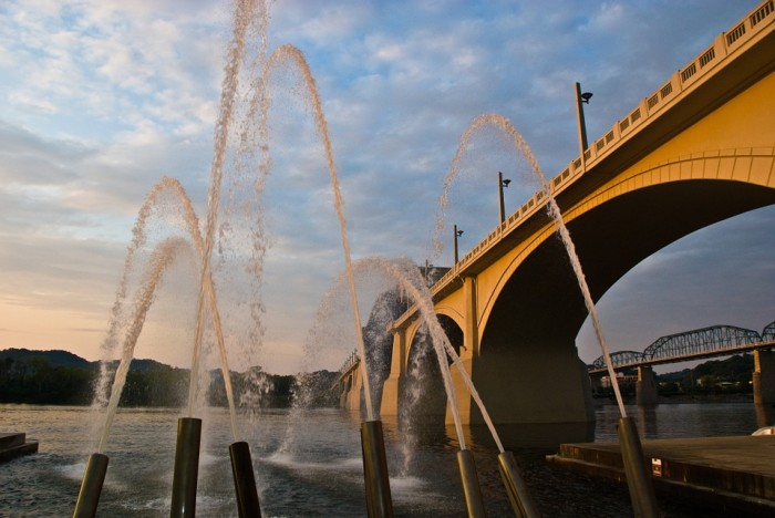 6) The Chattanooga fountains as the day begins to die