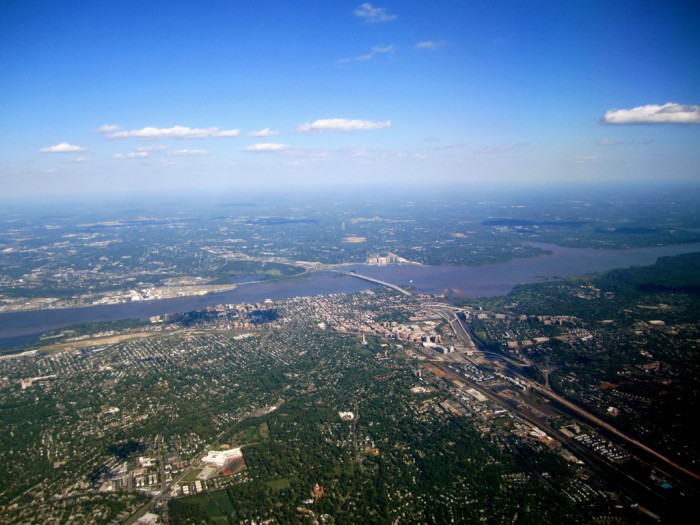 5) A bird's-eye view of the Capital Beltway, Maryland and Virginia.