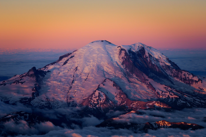 2. A shot of Mount Rainier from above the clouds could make a compelling intro for any feature film.