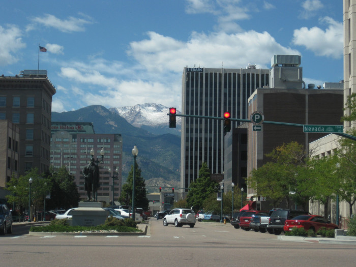 6. Let's move south, shall we? Here's the beautiful Springs, looking west on Pikes Peak Ave.