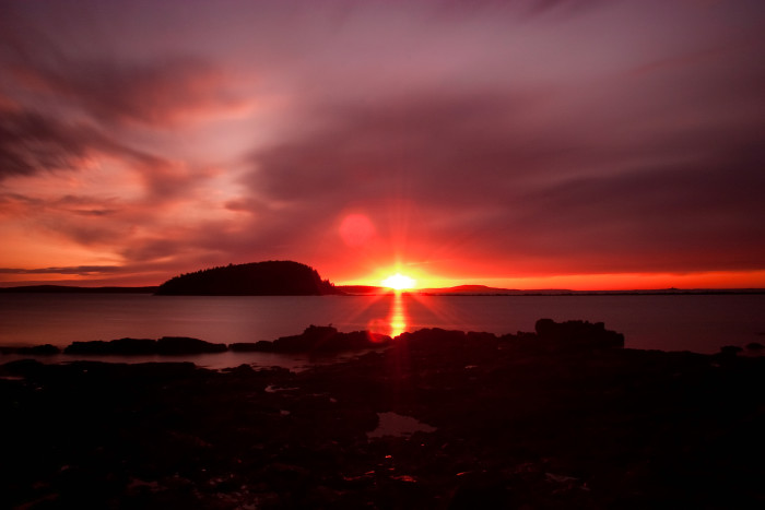 10. First sunrise in America between October 7th and March 6th, Bar Harbor.