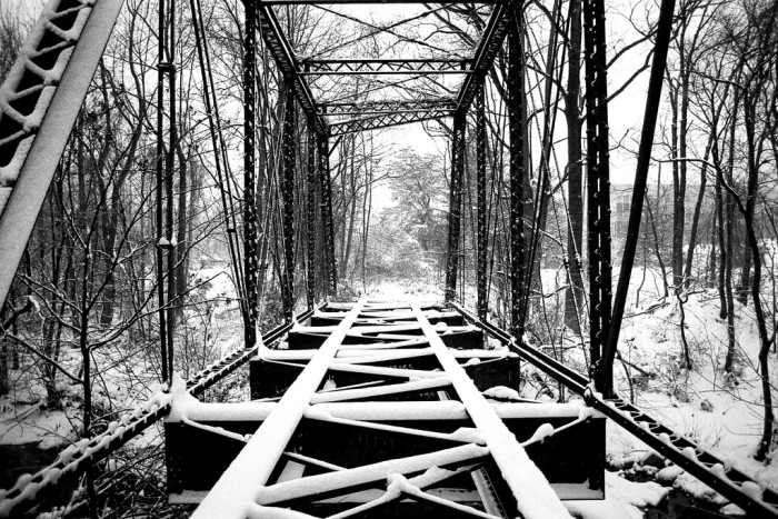 3) This bridge over the Little Patuxent River is unsettling, yet peaceful when covered with powdery snow.