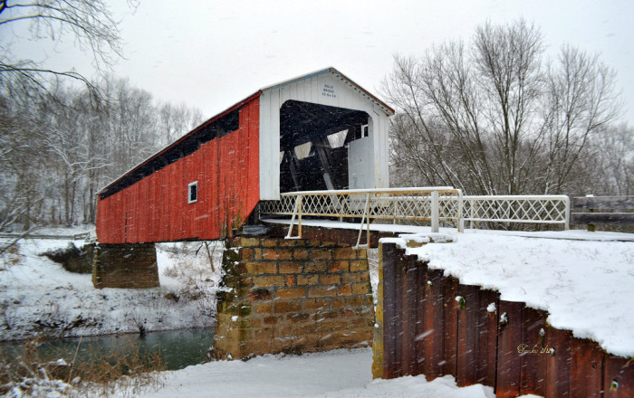 15. Snow at Hill Covered Bridge and the Little Muskingum River in Washington County