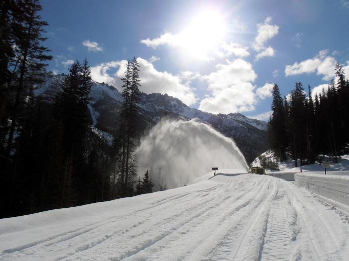 7) A snow drift buries a man in his truck.