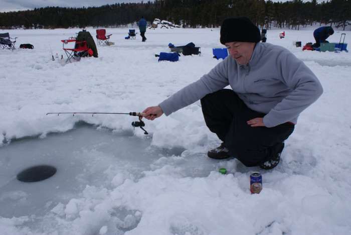 7. Test your skill, and your patience, by doing some ice-fishing on your local lake.