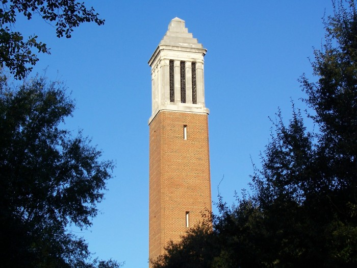 7. A closeup view of the famous Denny Chimes at the University of Alabama campus in Tuscaloosa.