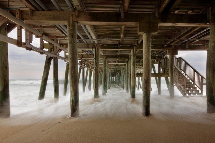 6. Under the OOB pier during a thunderstorm in Old Orchard Beach.