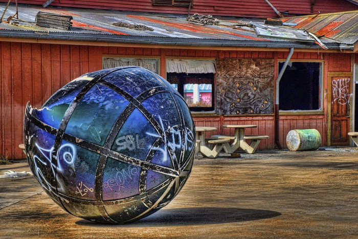 A whole new perspective on that iconic Six Flags globe sign that used to reign over the park.