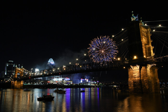 6. Cincinnati and the John Roebling Suspension Bridge after a Red's game