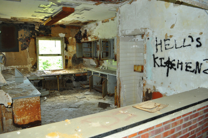 A kitchen that once used to feed several hundred ill patients, is now left in ruins.