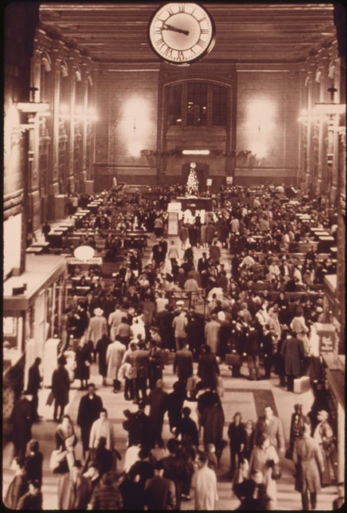 8.	Kansas City's Union Station filled with travelers sometime in the 1950s.