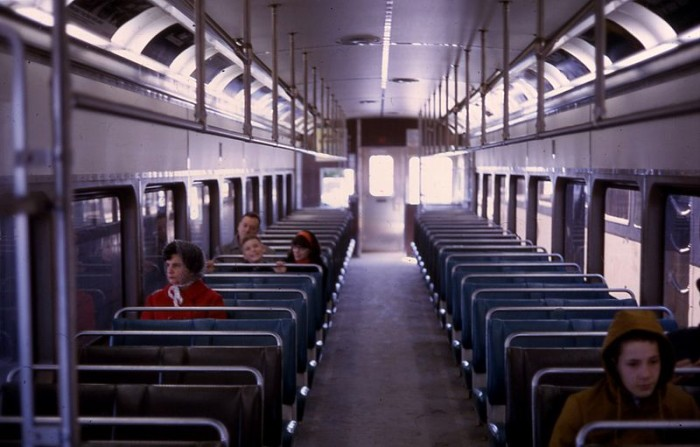 10. Interior of a Cleveland Transit System car