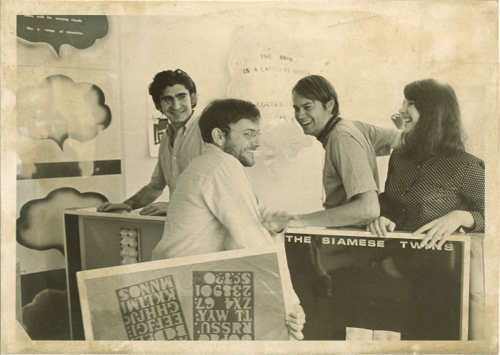7. These artists at State University of Iowa prepare for a poetic experiment in the mid 1960s.