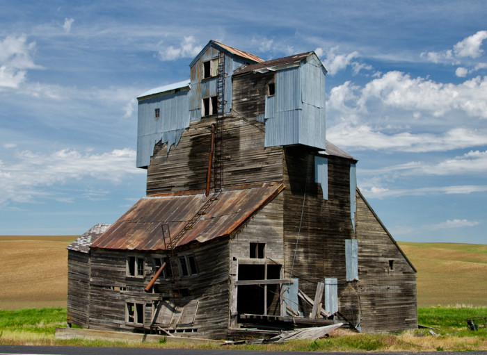 4. Gravity seems to be slowly reclaiming this grain elevator by the Palouse.
