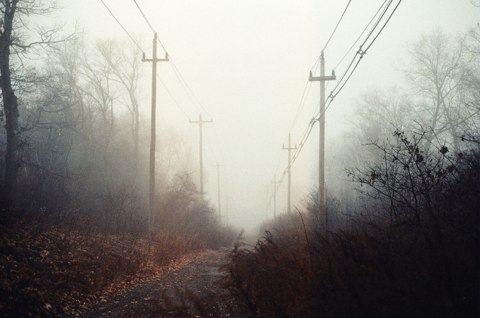 13. A lonely road leading into the blurry unknown in Wrentham.
