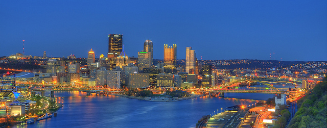 3. Pittsburgh looks incredibly colorful in this photograph taken from West End Park.