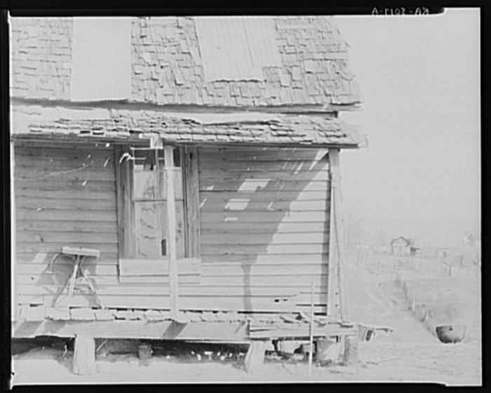 8. Although it may look dilapidated, the condition of this Tupelo home was typical of the time.