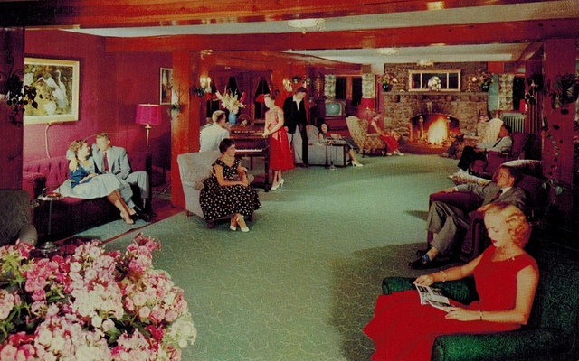 1. The lobby of the Strickland Mountain Inn in Mount Pocono looked festive in the 1950s. Pocono resorts were hugely popular in this era.