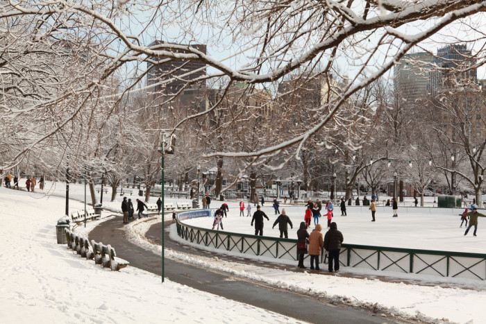 8. Go skating at the Boston Frog Pond. This is a classic activity that hasn't lost any of its charm over the years. It's free if for skaters under 58 inches and $5 for those over and $10 to rent skates. Skating runs from December to March.