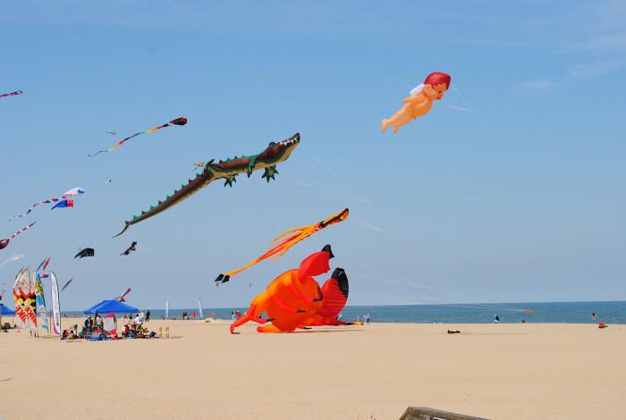 6) Flying kites at Ocean City.