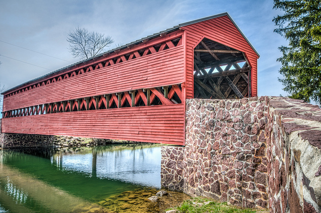 10. Covered bridges are a unique American structure, and Pennsylvania has claim to more of them than any other state. This is Sachs Covered Bridge in Gettysburg.