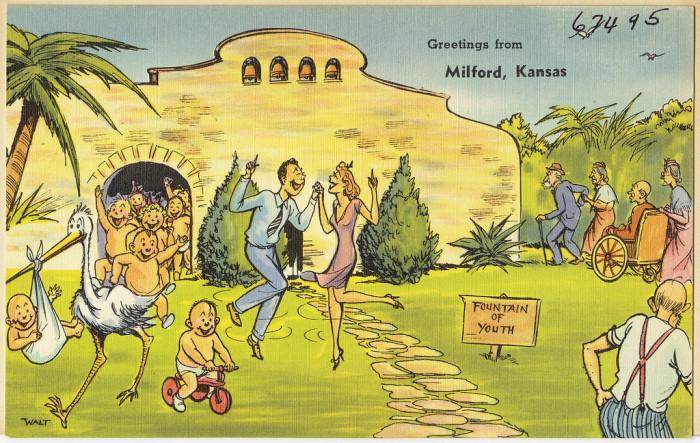 "4. ""Greetings from Milford, Kansas."""