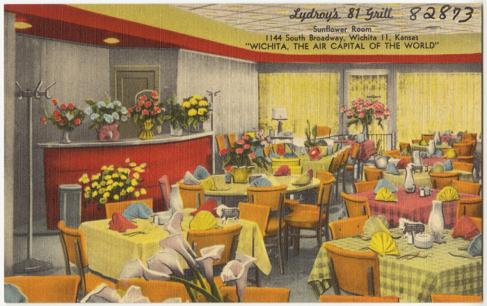 "2. ""Lydroy's 81 Grill, Sunflower Room, 1144 South Broadway, Wichita, Kansas."""