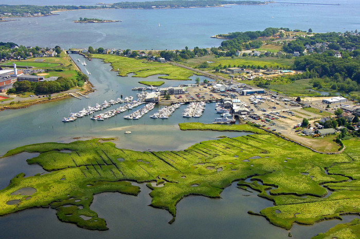 1. Cape Ann Marina in Gloucester. Check out all that green!