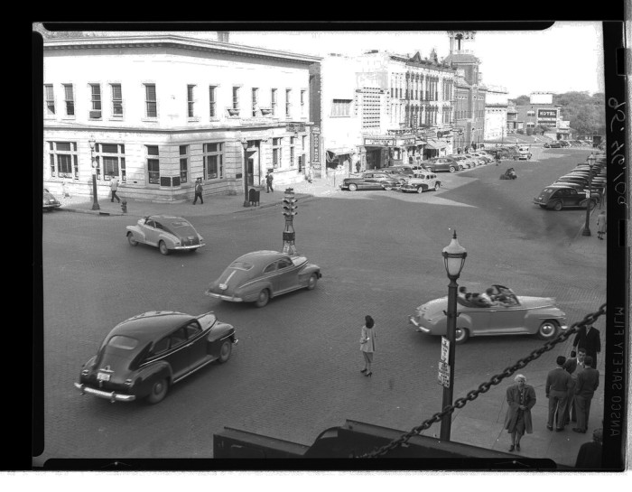 10. This photo shows a busy street in Iowa City during the 1950s.
