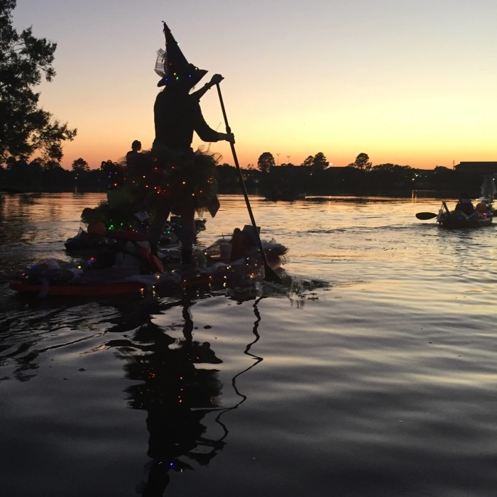 And look what we found! A real witch paddling out into the swamp! (Going on the pumpkin parade that is…)