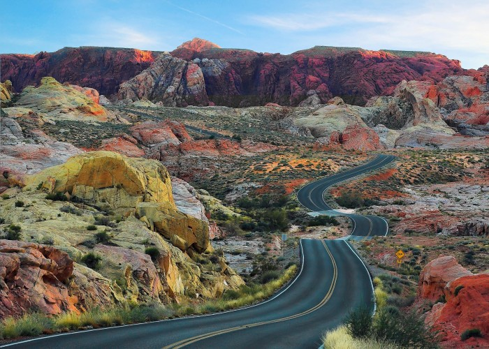 14. A road winding through Valley of Fire State Park.